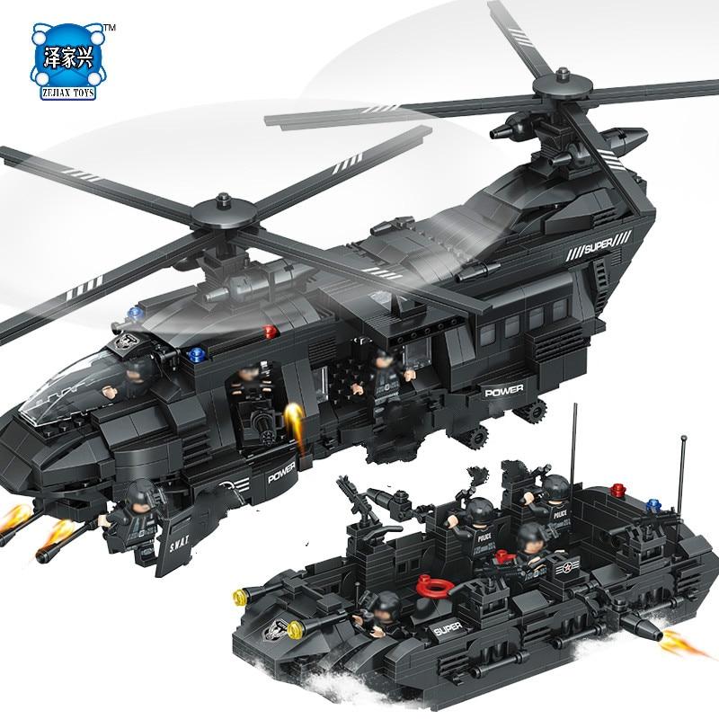 1351pcs Military Swat Team Compatible Lepins & Enlighten Model Building Blocks Transport Helicopter Bricks Children Figures Toys цена и фото
