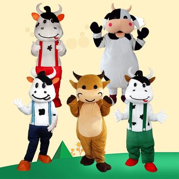 White and Black Milk Cow Mascot Costume Bull Calf Ox Mascot Milk Fancy Dress Costumes Adult Suit Size for Halloween Party Event