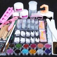 Acrylic Nail Art Manicure Kit 12 Colors Nail Glitter Powder Decoration Acrylic Pen Brush Nail Art