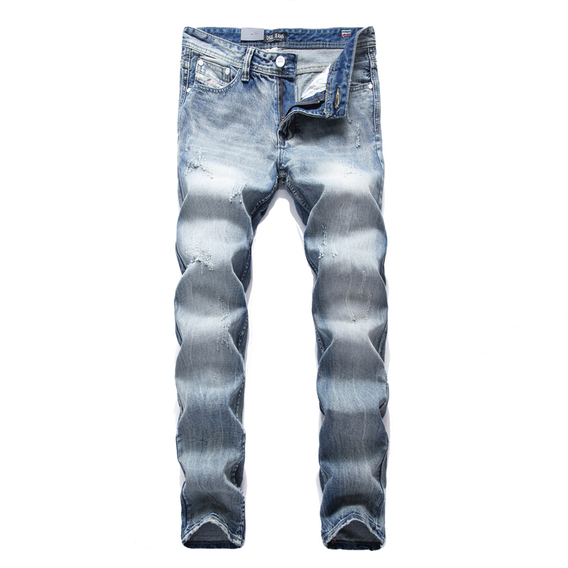 2017 new New Fashion Designer Brand  Men Jeans Straight Slim Biker Men Jeans Zippers Skinny Denim Ripped Jeans With Holes Mens P 2017 fashion patch jeans men slim straight denim jeans ripped trousers new famous brand biker jeans logo mens zipper jeans 604