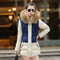 2017 Wadded Jacket Women Autumn Winter Patchwork Color Slim Long Parkas Fashion Hooded Cotton-padded Women's Outerwear Coat Y264