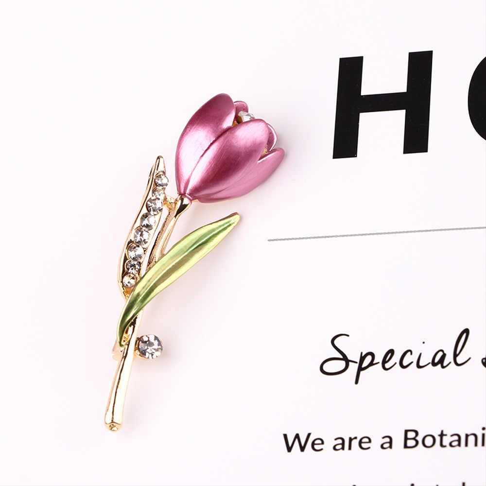 Bunga Tulip Bros Elegan Rhinestone Bros Pin Wanita Pekerjaan Gaun Korsase Wanita Pesta Perhiasan