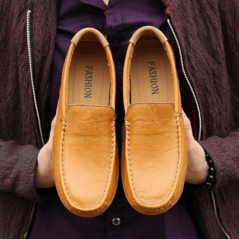 Baixos Homens marrom De Outono Agradável Primavera Nova Preto Para Genuíno Escorregar Sapatos Couro Casuais Condução Moda Mocassins azul qCqTrHwP