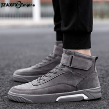 цена 2018 New Lace-Up Canvas Shoes Men Casual High Top Shoes zapatos hombre Walking Ankle Boots Male Fashion Sneaker онлайн в 2017 году