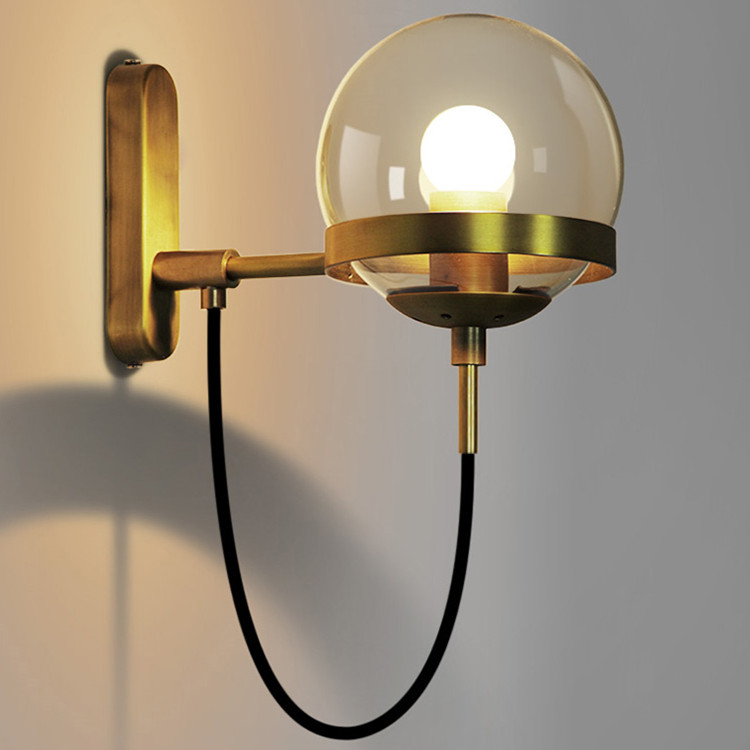 Moderno Hotel wall lamps aisle bedroom Cognac glass ball iron bronze ring wall of the living room wall lamps ya8115