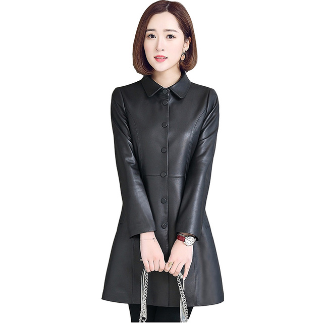 Sheep leather jackets women 2018 spring autumn high quality Windbreaker coat Plus size 5XL real leather jacket ladies Tops H456 2