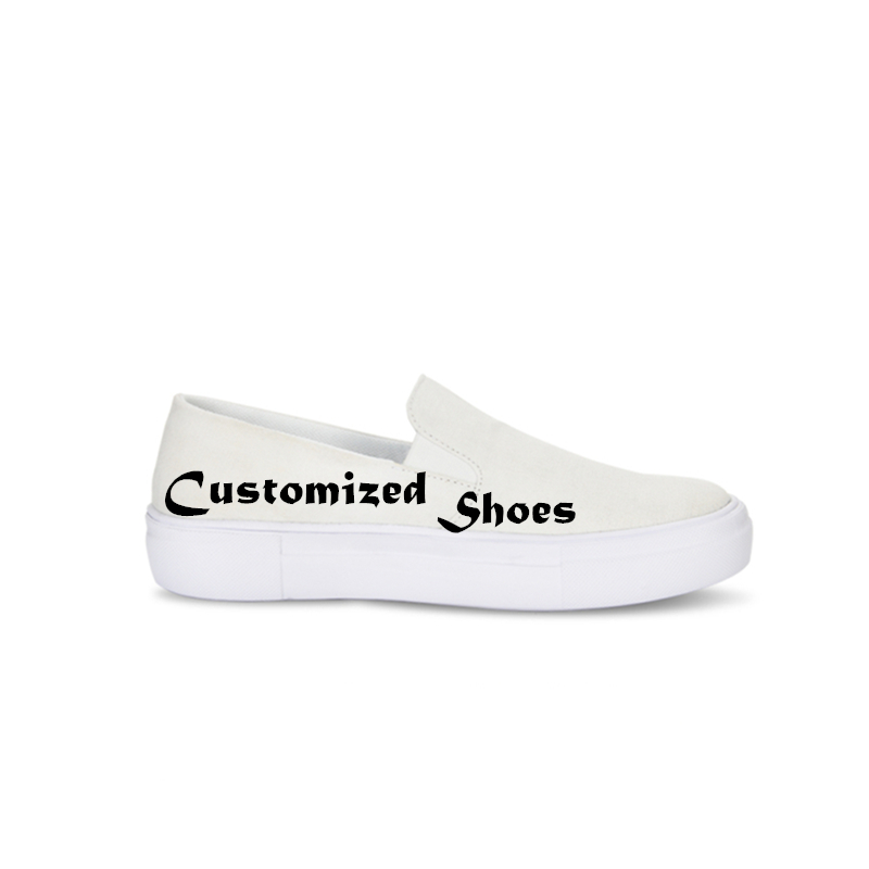1 Pc Customized Womens Slip on Canvas Shoes Casual Gilrs Summer Flat School Footwear Fashion Ladies Platform Sneakers Spring