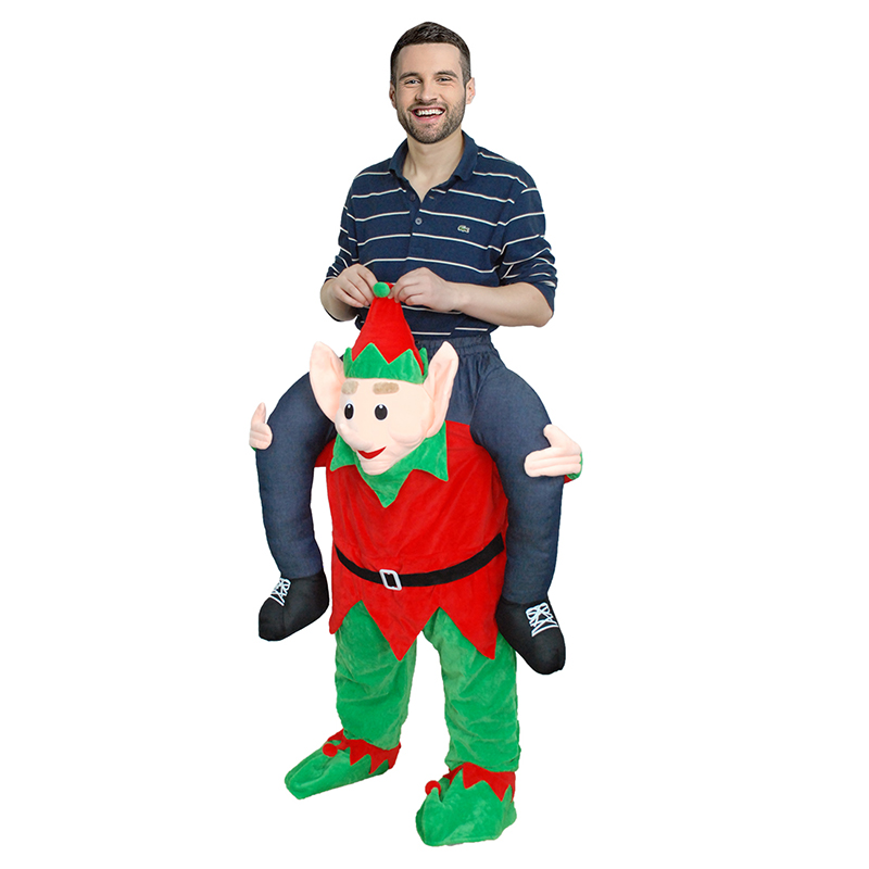 Man Ride On ELF Walking Mascot Costumes Funny Fancy Party Dress Animal Pants Piggy Back Halloween Costume