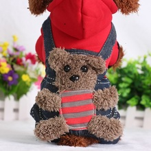 100% Cotton Cute Bear Clothes For Small Dogs Jacket Hoodie Autumn Winter Warm Pet Costumes Jacket 2 Colors  XS S M L XL XXL