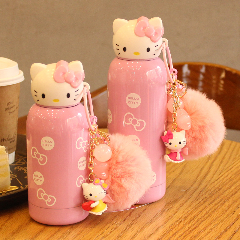 280ml Cartoon Hello Kitty Bottle Stainless Steel Cute Bottle 2016 water bottle For Kids garrafa de agua image