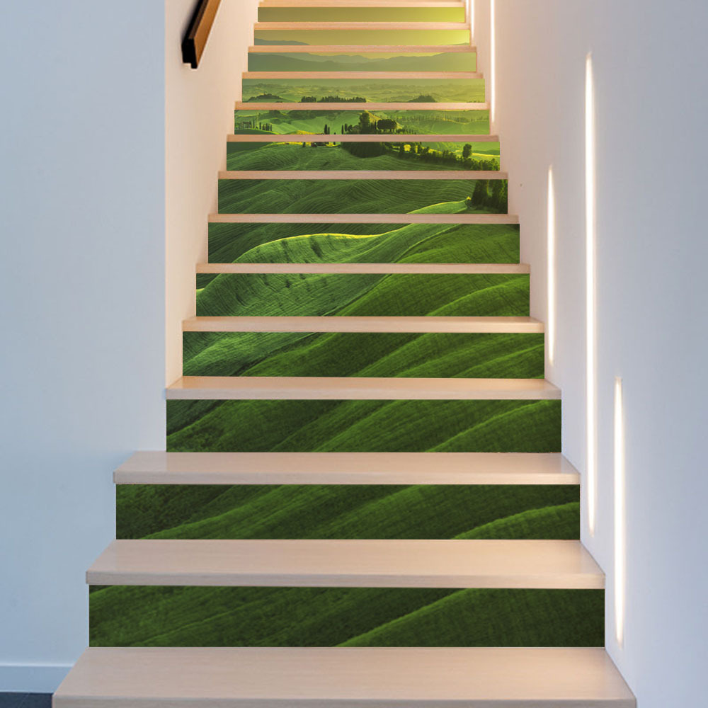 Aliexpress.com : Buy Green Mountain Stair Stickers 13pcs/6pcs Home Decor  Staircase Mural Self Adhesive DIY Stair Renovation Decals Vinyl Wallpapers  From ...