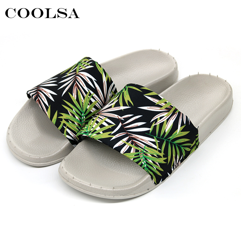Coolsa Summer Women Printing Flip Flops Canvas Print Leaves Female Soft Flat Slides Indoor Slippers Fashion Casual Beach Sandals 2
