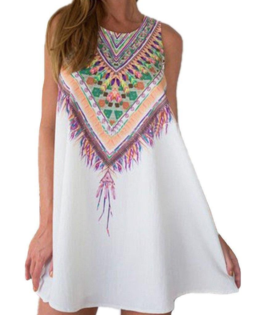 regino boho ethnic short dresses for women floral sundress. Black Bedroom Furniture Sets. Home Design Ideas