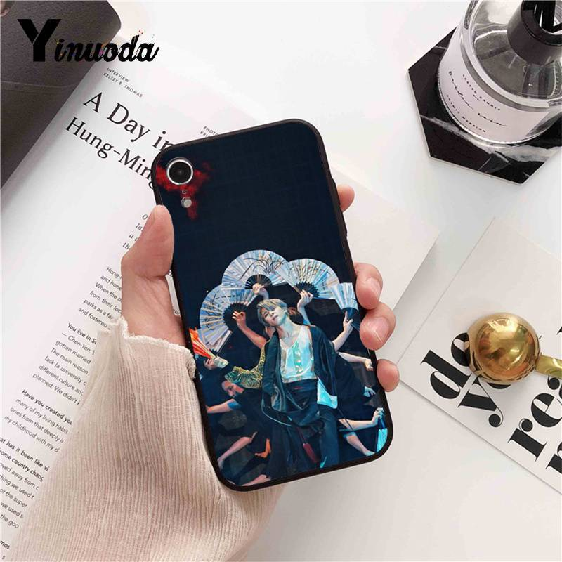 Yinuoda BTS Bangtan V Jimin DIY Painted Phone Case for iPhone X XS MAX  6 6s 7 7plus 8 8Plus 5 5S SE XR