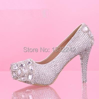 Comfortable Silver Crystal Shoes Female High Heels Las Wedding Pumps Women Bridal Autumn