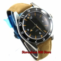 DEBERT 41mm Black dial brown strap date ceramic bezel 5ATM MIYOTA 821A Mechanical Automatic mens watch