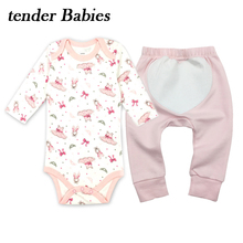 3PCS tender Babies Brand Baby Romper Pants Long Sleeves Cotton Newborn Baby Girl Boy Clothes Cartoon Printed Baby Clothing Set new baby boy clothing set summer baby cotton bodysuit elephant printed romper animal bibs 3pcs set newborn baby girl clothes