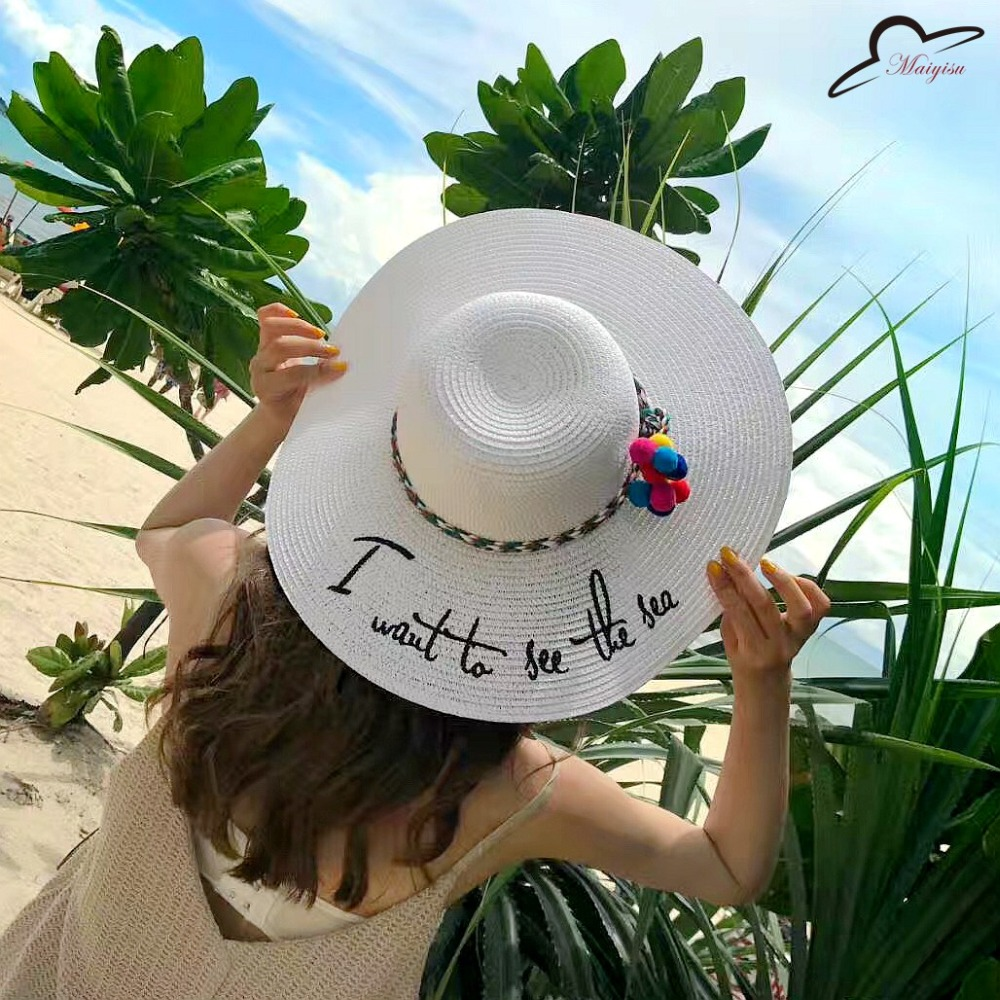 New English Embroidery I Want To See The Sea Parentchild Big Eaves Hand  Weave Straw Hat Summer Seaside Resort Sun Hat Beach Hat