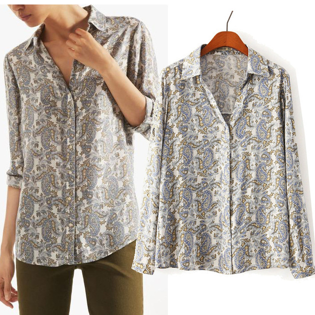 New 2015 Massimo Women Shirts Long Sleeve Turn-Down Collar Blouse Casual Paisley Print Sheer Brand Tops Blusas Femininas