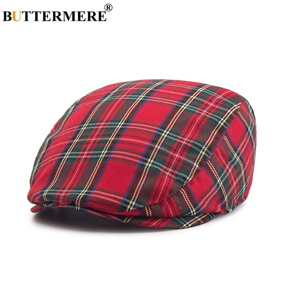 Spring Autumn Hat Cotton Newsboy Caps Women Plaid Khaki Octagonal with Pompom Vintage Tartan Painter Berets