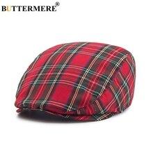 80fa0cc66469c BUTTERMERE mujer cuadros gorras planas hombre Casual de algodón Vintage  boinas sombreros de verano primavera a