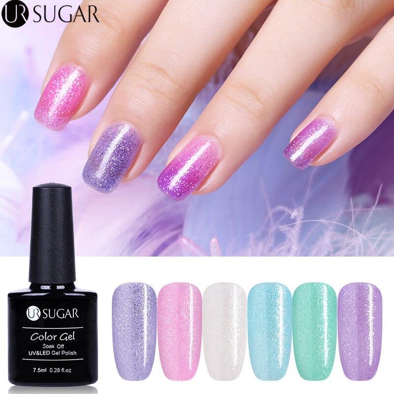 UR SUGAR Sandy Sugar Gel Colorful Gradient Gel Nail Polish Shine Glitter UV Gel Varnish 7.5ml Soak Off Nail Art Gel Lacquer LED