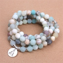 NEW Fashion Women Natural Stone Strand Matte Frosted Amazonite beads with Lotus OM Buddha Charm Yoga Bracelet