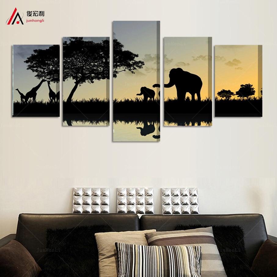 2016 Top Fashion Cuadros Decor 5pcs Elephant Painting Canvas Wall ...
