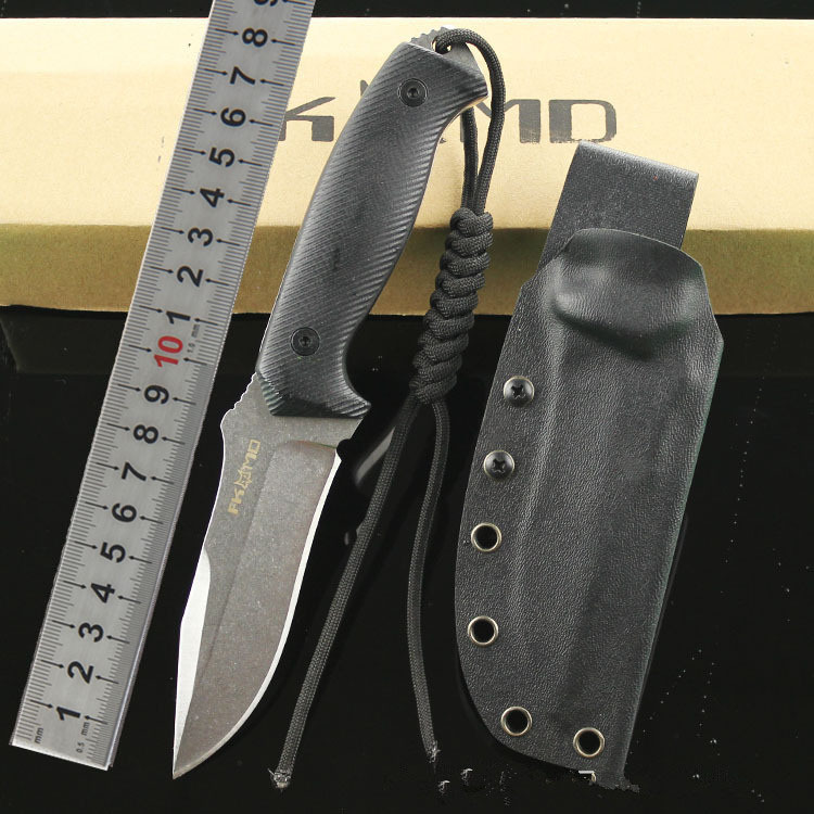 Fox 58HRC Fixed Knife Stone Wash D2 Blade G10 Handle Outdoor Survival Camping Hunting Knife Tactical Utility Multitool Qaulity A quality luxury fixed blade damascus knife 58hrc antlers handle for collection gift outdoor survival