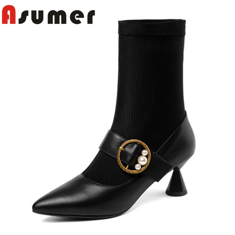 ASUMER 2018 fashion strange style winter boots patchwork high quality ankle boots for women pointed toe genuine leather bootsASUMER 2018 fashion strange style winter boots patchwork high quality ankle boots for women pointed toe genuine leather boots