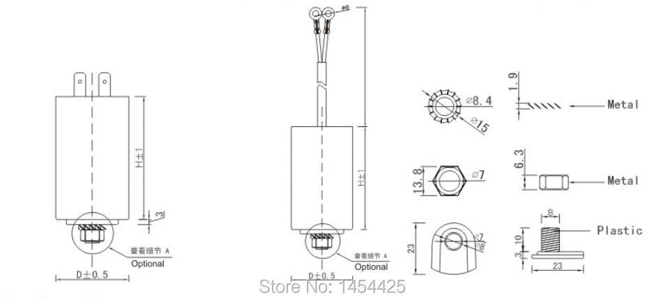 Cbb60 kondensator 65uf 240v + 5% mit einem ader adern in Cbb60 ...
