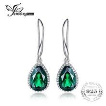 JewelryPalace 5.4ct Pera Verde Creado Nano Ruso Esmeralda Cuelga Los Pendientes Esterlina del Sólido 925 de Plata 2016 Joyería Para Las Mujeres
