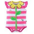 Floral Tarja Bebê Meninas Bodysuits 100% Algodão do bebê roupas de menina recém-nascidos macacão ropa de bebe