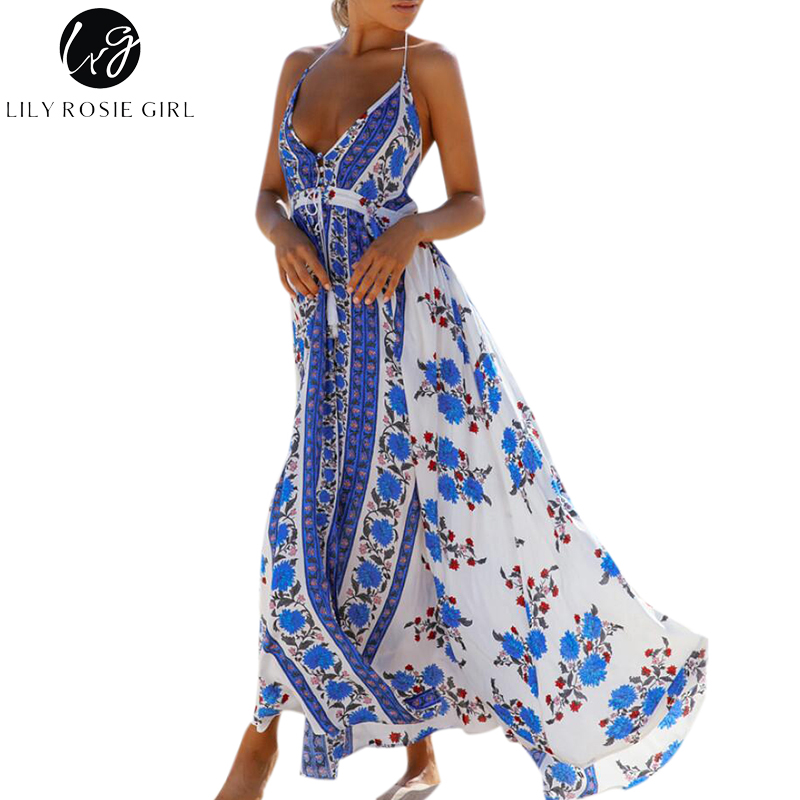 Lily Rosie Girl Off Shoulder Boho Blue Floral Print Dress Women Deep V Neck Sexy Backless Summer Beach Maxi Long Dresses Vestido