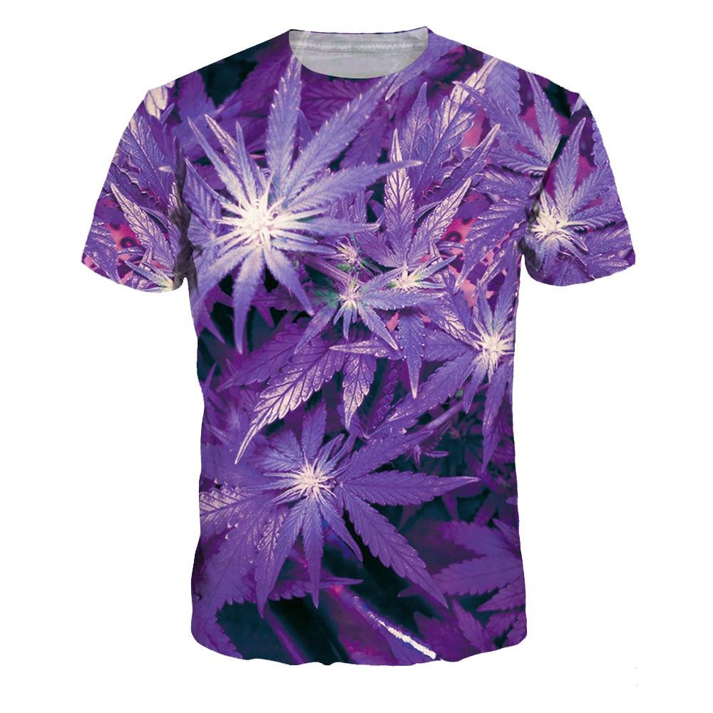 b3da1997 Pendatang baru 3d T-shirt untuk Wanita Ungu Maple Leaf Dicetak Lengan  Pendek Tee Shirts
