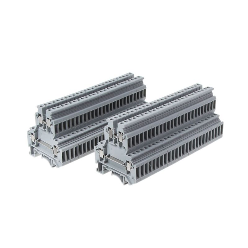 50 Pcs UKK3 DIN Rail Double Level Dual Row Terminal Block 500V 25A 28-12AWG Gray