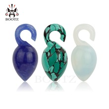 hot selling stone ear plugs tunnels design body jewelry piercing gauges 2pcs pair 8mm expander