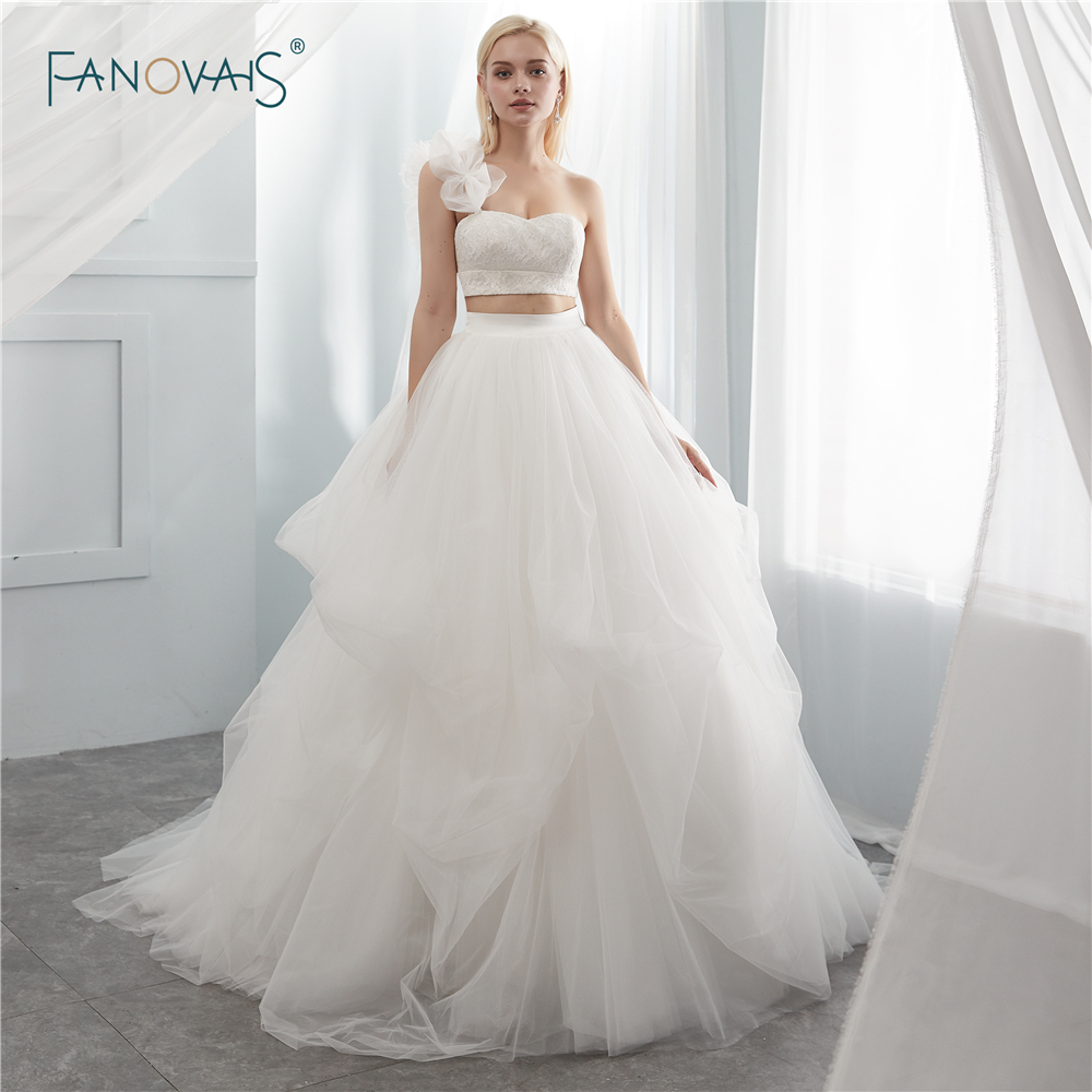 Two Pieces Wedding Dresses 2018 One Shoulder Ivory Wedding