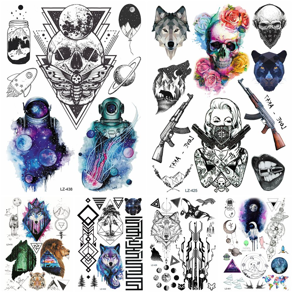 Fake Galaxy Spaceman Geometric Death Skull <font><b>Tattoos</b></font> Stickers Body Arm Mouth Neck Temporary Tatoo Gun <font><b>Gangster</b></font> Waterproof <font><b>Tattoo</b></font> image