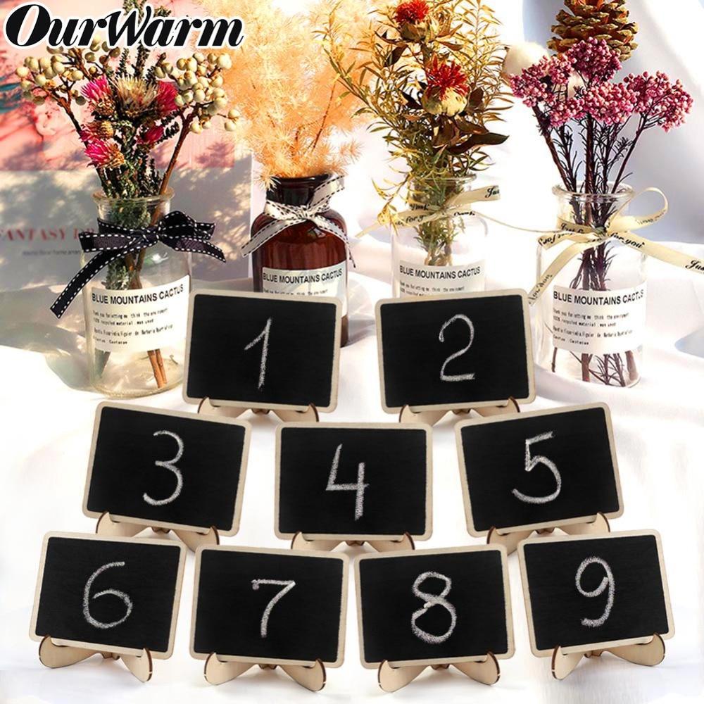 OurWarm 10pcs Wooden mini Blackboard for Wedding Party Decorations Chalkboards Message Board