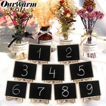 OurWarm 10pcs Wooden mini Blackboard for Wedding Party Decorations Chalkboards Message Board