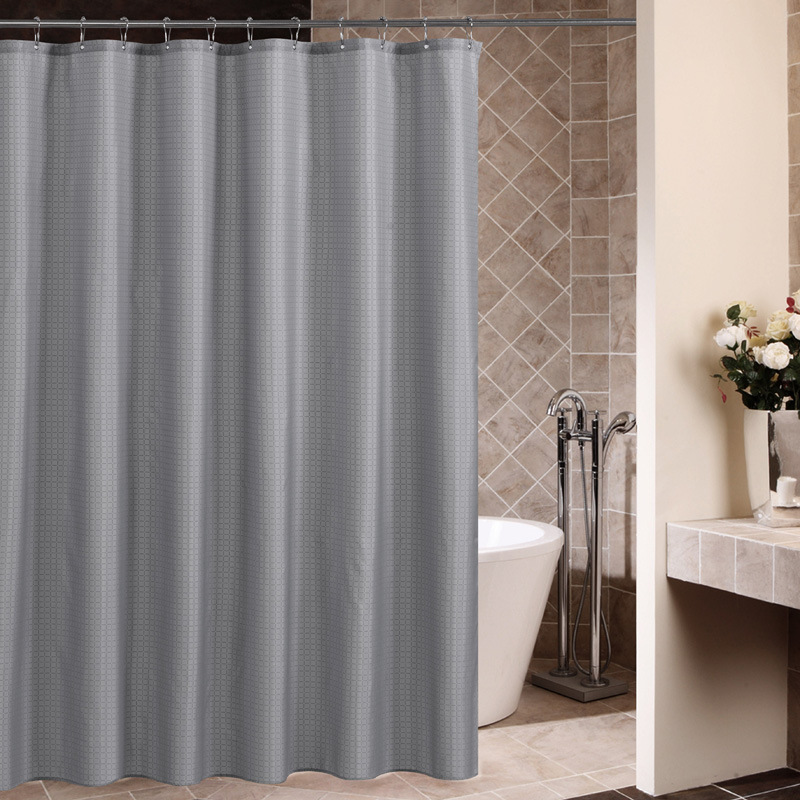 High Grade Thickened Bathroom Shower Curtain Gray Square