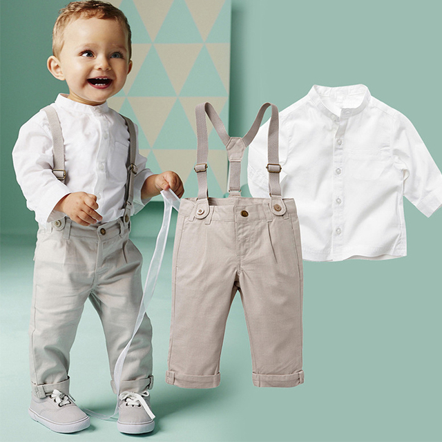 Baby Boy gentleman suit shirt + overalls 2pcs long sleeve T-shirt boys pants kids clothes children's clothing set free shipping