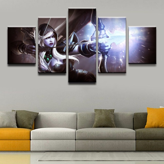 Modern Wall Art Painting 5 Panel Archer DOTA 2 Drow Ranger Game Poster Home Decor For Living Room Canvas Printed Picture Artwork