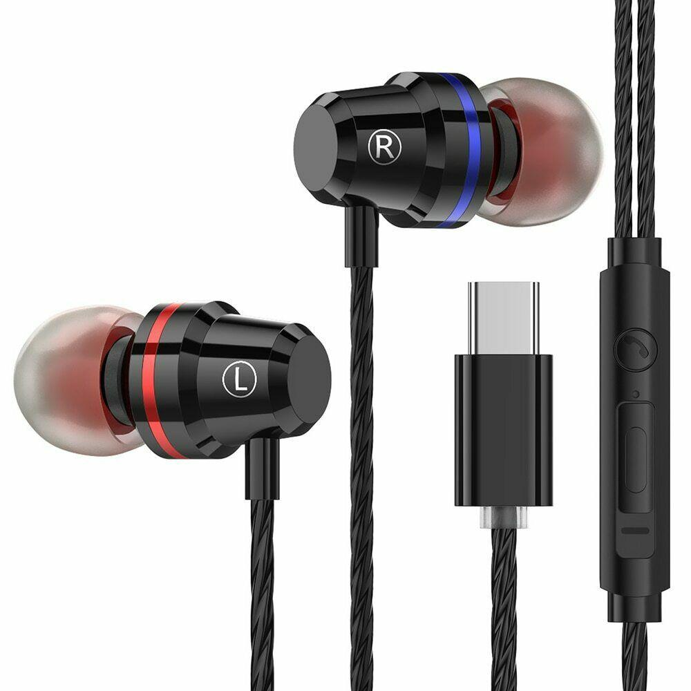 wired earphone Type C Plug In-ear Sport Earphone Headset Earbuds Handfree High bass dual For Huawei P20 pro HTC with microphone