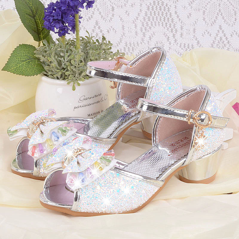 girls summer sandals 2018 child fashion all-match princess dance shoes ,female children leather sandals with bow summer shoes