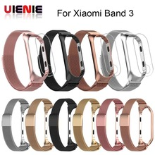 Strap Metal Watch Band for Xiaomi Mi 3 Bracelet With Protective film For MiBand Wrist