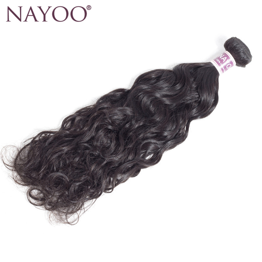 NAYOO Human Hair Brazilian Water Wave 100% Human Hair Weave Bundles Natural Hair Extensions 1B# Non Remy Hair 1pc Can Be Dyed