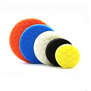 Image 2 - Almohadilla de esponja de pulido para coche, almohadillas de pulido de pintura, cepillo de limpieza, pulidor, 75, 100, 125, 150, 180mm, con almohadilla adhesiva, 5 uds.