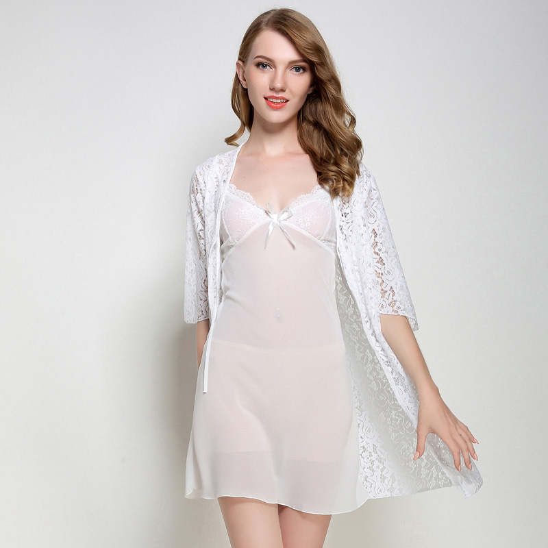 Women Sexy Robe Gown Set Lace Bathrobe Set Summer Bath Robe 2 Pieces Sleepwear Nightwear Set Robe+Nightdress